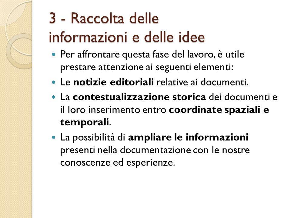 3 - Raccolta delle informazioni e delle idee Per affrontare questa fase del lavoro, è utile prestare attenzione ai seguenti elementi: Le notizie edito