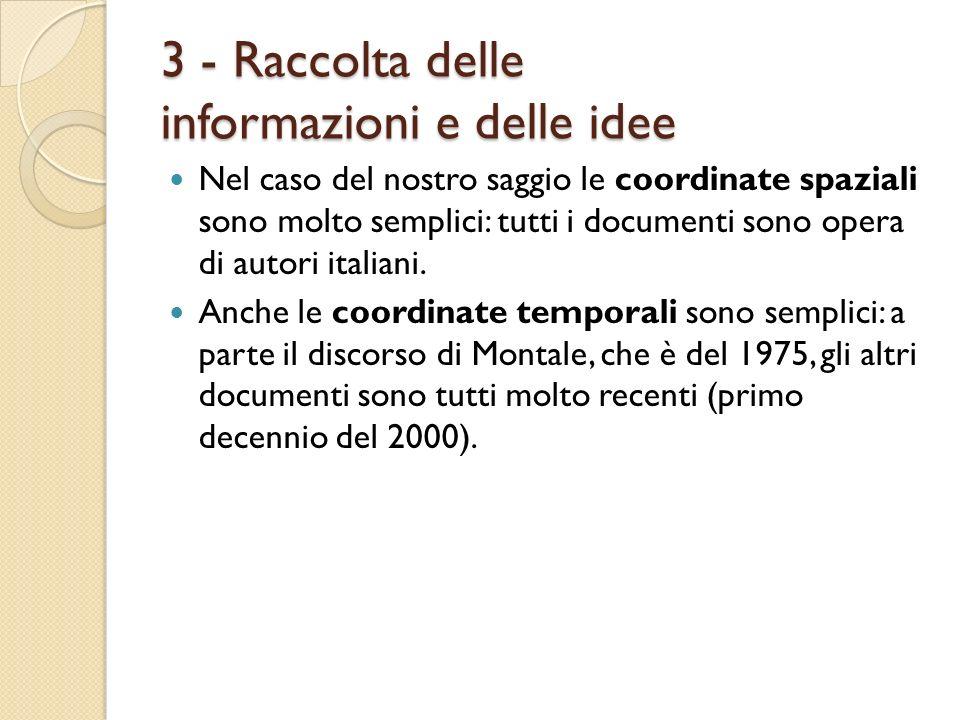 3 - Raccolta delle informazioni e delle idee Nel caso del nostro saggio le coordinate spaziali sono molto semplici: tutti i documenti sono opera di au