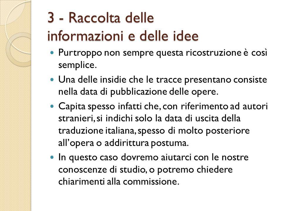 3 - Raccolta delle informazioni e delle idee Purtroppo non sempre questa ricostruzione è così semplice. Una delle insidie che le tracce presentano con
