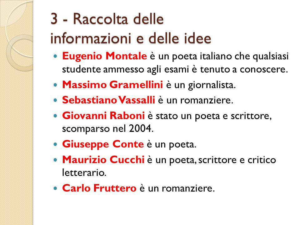 3 - Raccolta delle informazioni e delle idee Eugenio Montale è un poeta italiano che qualsiasi studente ammesso agli esami è tenuto a conoscere. Massi