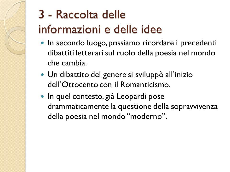 3 - Raccolta delle informazioni e delle idee In secondo luogo, possiamo ricordare i precedenti dibattiti letterari sul ruolo della poesia nel mondo ch