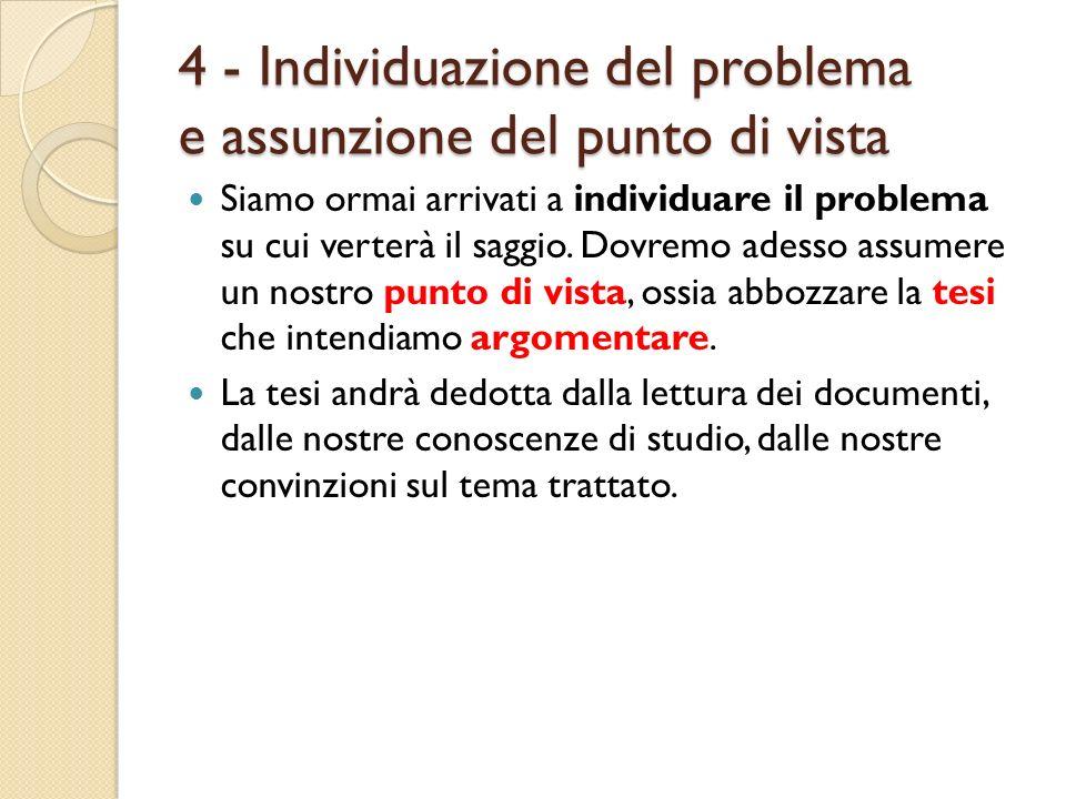 4 - Individuazione del problema e assunzione del punto di vista Siamo ormai arrivati a individuare il problema su cui verterà il saggio. Dovremo adess