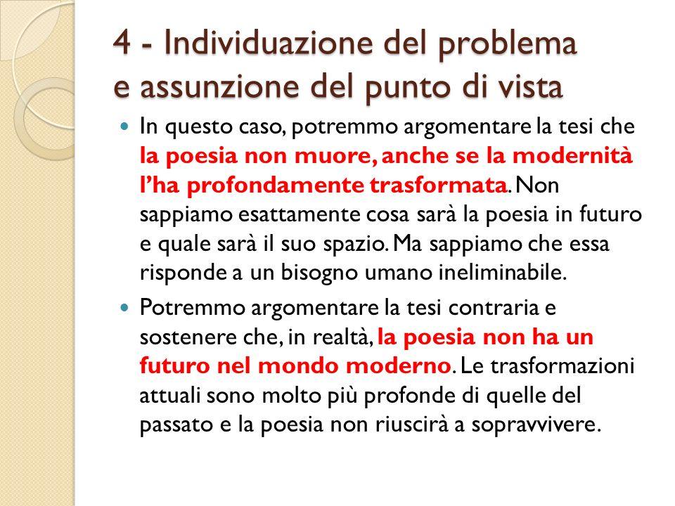 4 - Individuazione del problema e assunzione del punto di vista In questo caso, potremmo argomentare la tesi che la poesia non muore, anche se la mode