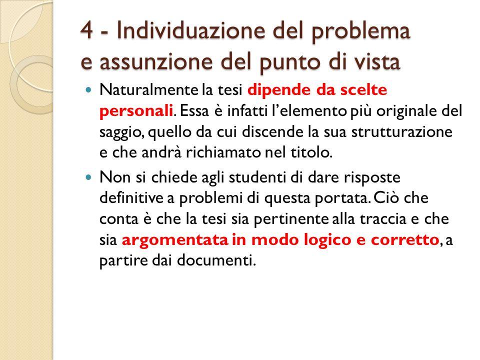 4 - Individuazione del problema e assunzione del punto di vista Naturalmente la tesi dipende da scelte personali. Essa è infatti lelemento più origina