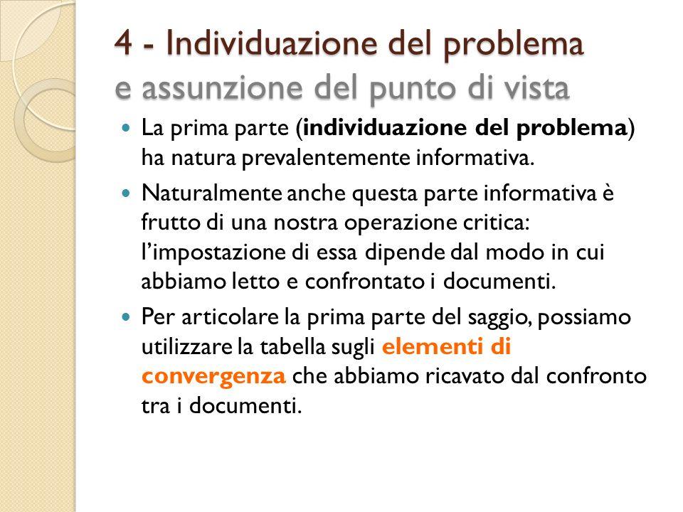 4 - Individuazione del problema e assunzione del punto di vista La prima parte (individuazione del problema) ha natura prevalentemente informativa. Na
