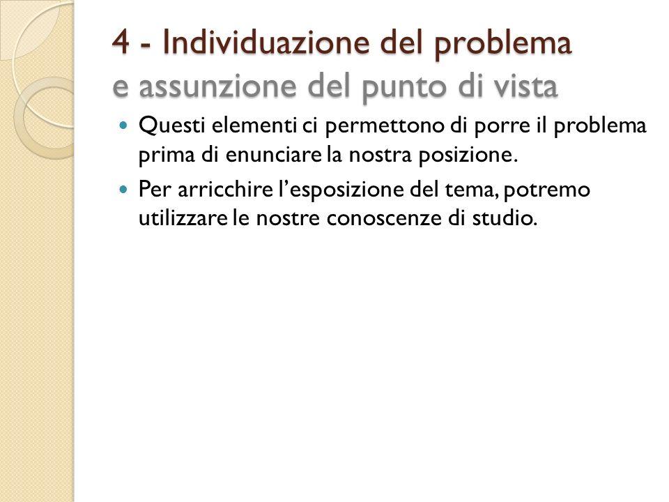 4 - Individuazione del problema e assunzione del punto di vista Questi elementi ci permettono di porre il problema prima di enunciare la nostra posizi