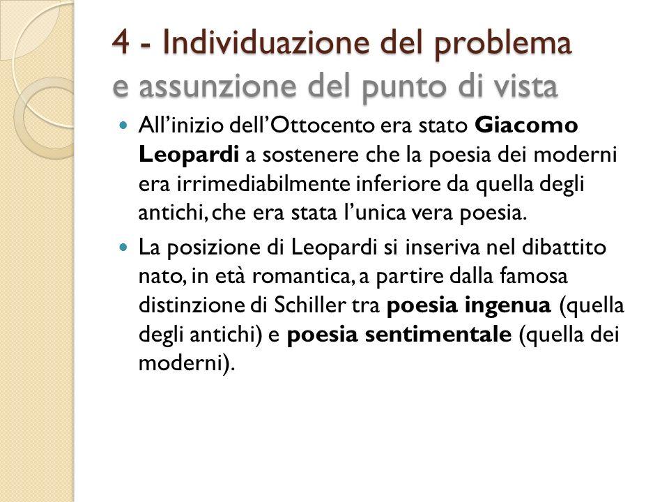 4 - Individuazione del problema e assunzione del punto di vista Allinizio dellOttocento era stato Giacomo Leopardi a sostenere che la poesia dei moder