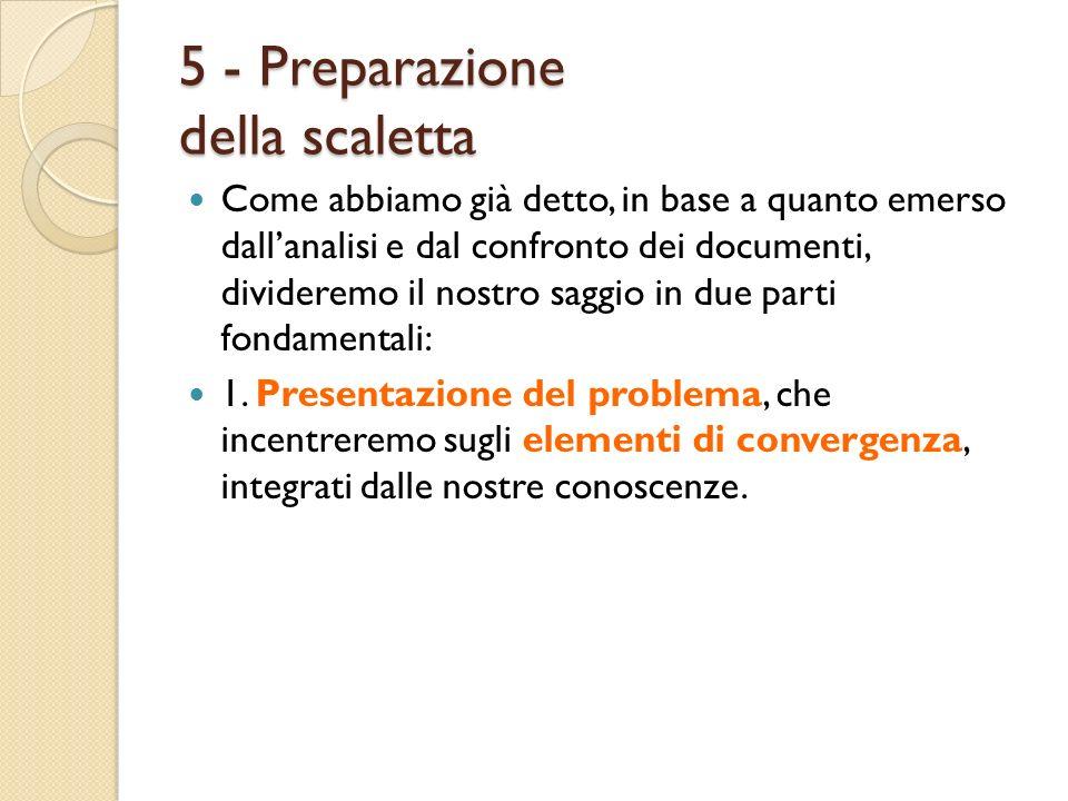 5 - Preparazione della scaletta Come abbiamo già detto, in base a quanto emerso dallanalisi e dal confronto dei documenti, divideremo il nostro saggio