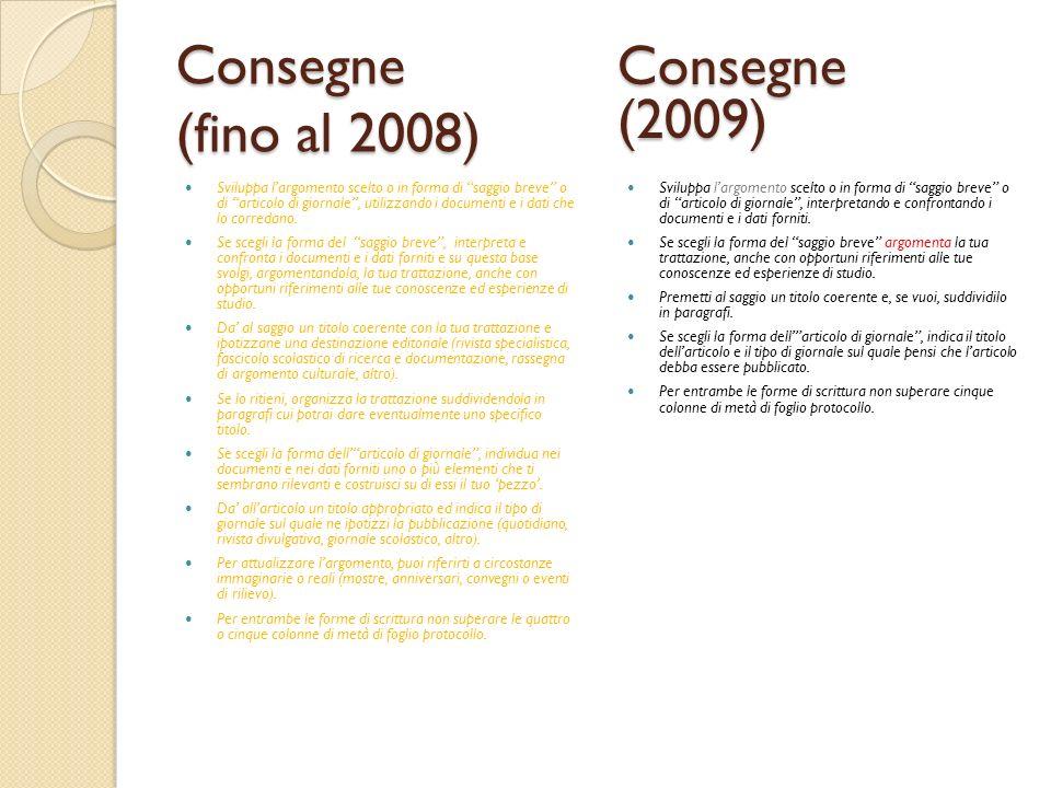 Consegne (fino al 2008) Sviluppa largomento scelto o in forma di saggio breve o di articolo di giornale, utilizzando i documenti e i dati che lo corre