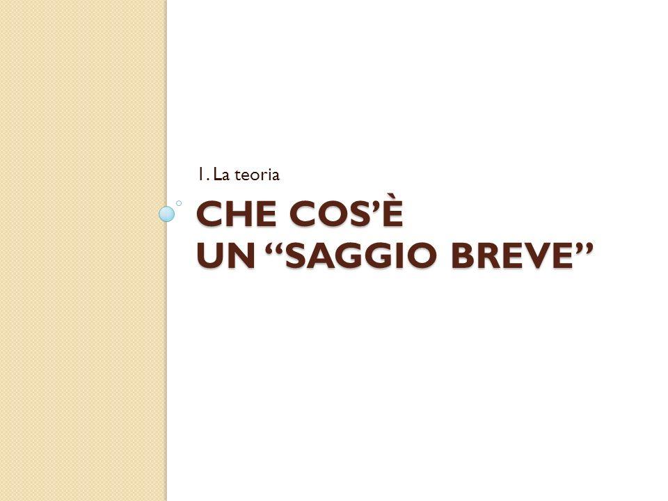 Definizione di «saggio» «Studio critico, normalmente breve, su un argomento specifico» (Dizionario italiano Sabatini-Coletti)