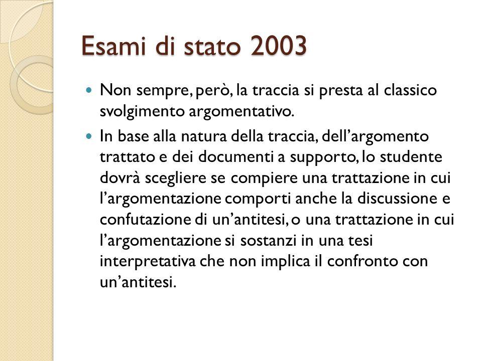 Esami di stato 2003 Non sempre, però, la traccia si presta al classico svolgimento argomentativo. In base alla natura della traccia, dellargomento tra