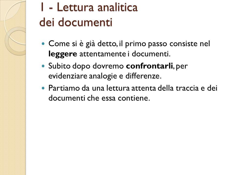 1 - Lettura analitica dei documenti Come si è già detto, il primo passo consiste nel leggere attentamente i documenti. Subito dopo dovremo confrontarl