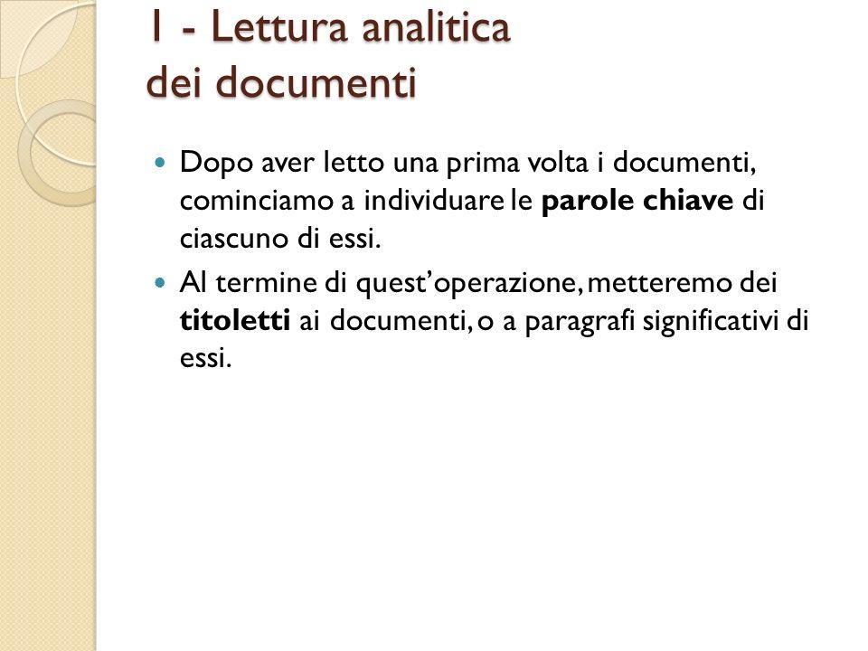Dopo aver letto una prima volta i documenti, cominciamo a individuare le parole chiave di ciascuno di essi. Al termine di questoperazione, metteremo d