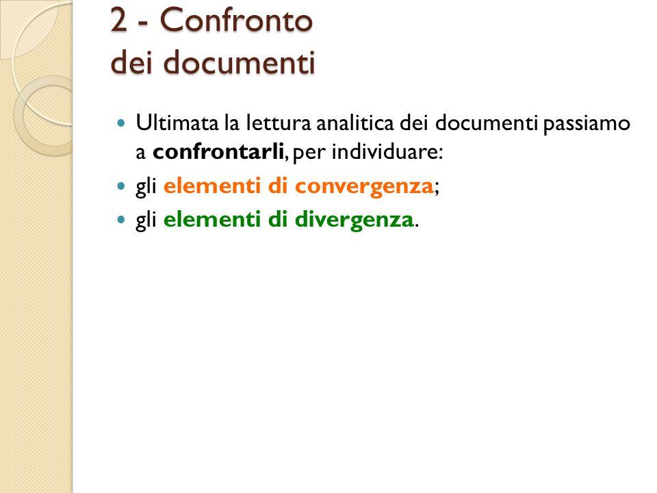 2 - Confronto dei documenti Ultimata la lettura analitica dei documenti passiamo a confrontarli, per individuare: gli elementi di convergenza; gli ele