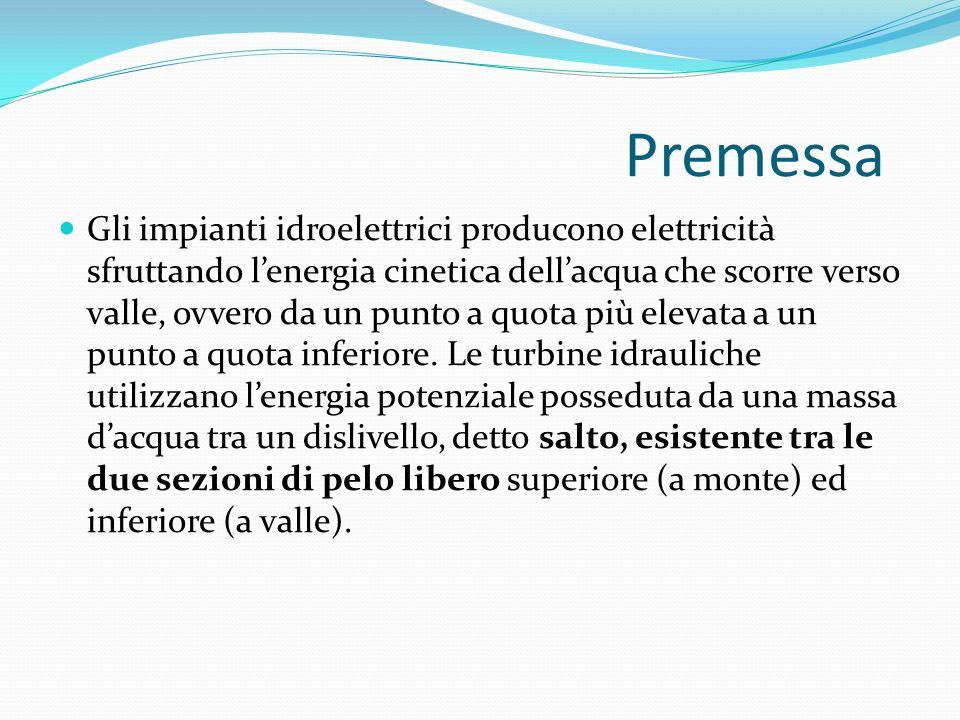 Premessa Gli impianti idroelettrici producono elettricità sfruttando lenergia cinetica dellacqua che scorre verso valle, ovvero da un punto a quota pi