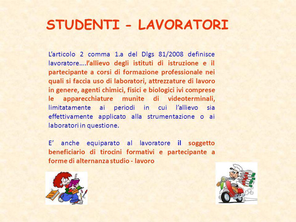 STUDENTI - LAVORATORI Larticolo 2 comma 1.a del Dlgs 81/2008 definisce lavoratore….lallievo degli istituti di istruzione e il partecipante a corsi di