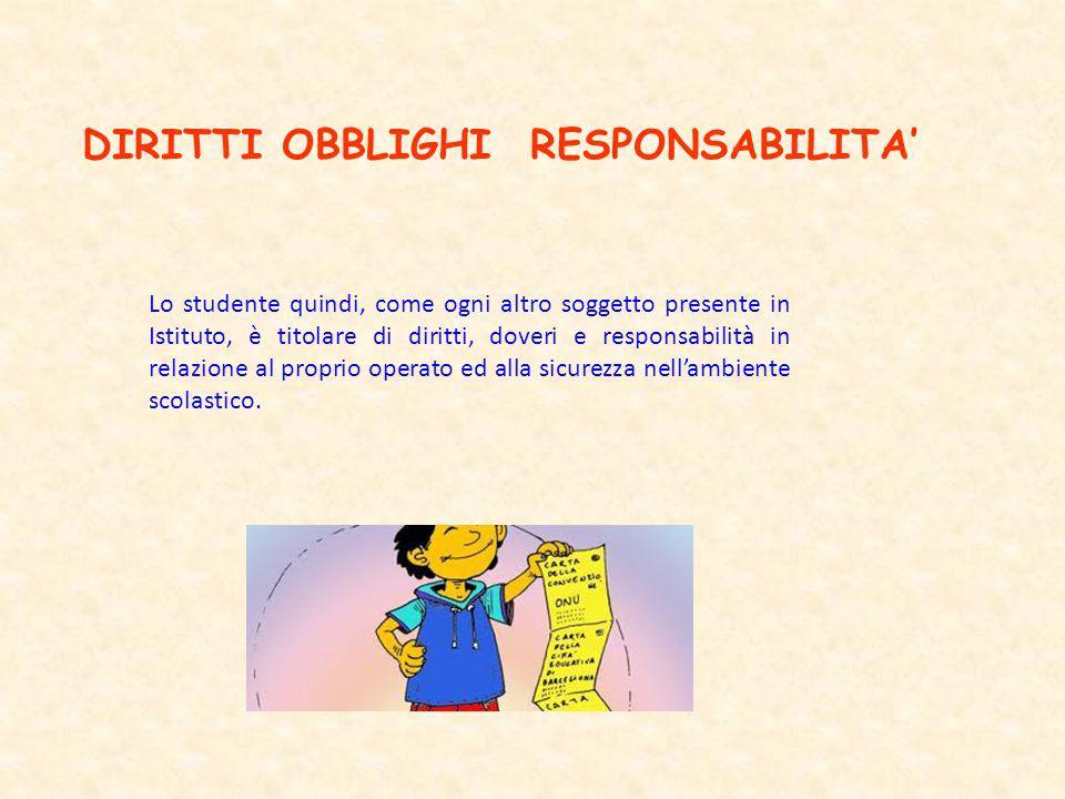 DIRITTI OBBLIGHI RESPONSABILITA Lo studente quindi, come ogni altro soggetto presente in Istituto, è titolare di diritti, doveri e responsabilità in r