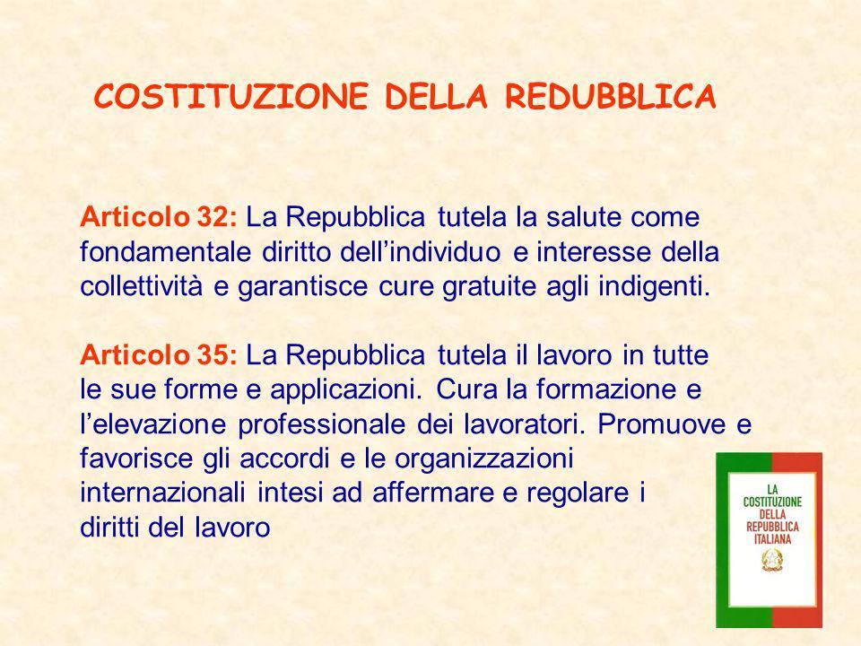 Articolo 32: La Repubblica tutela la salute come fondamentale diritto dellindividuo e interesse della collettività e garantisce cure gratuite agli ind