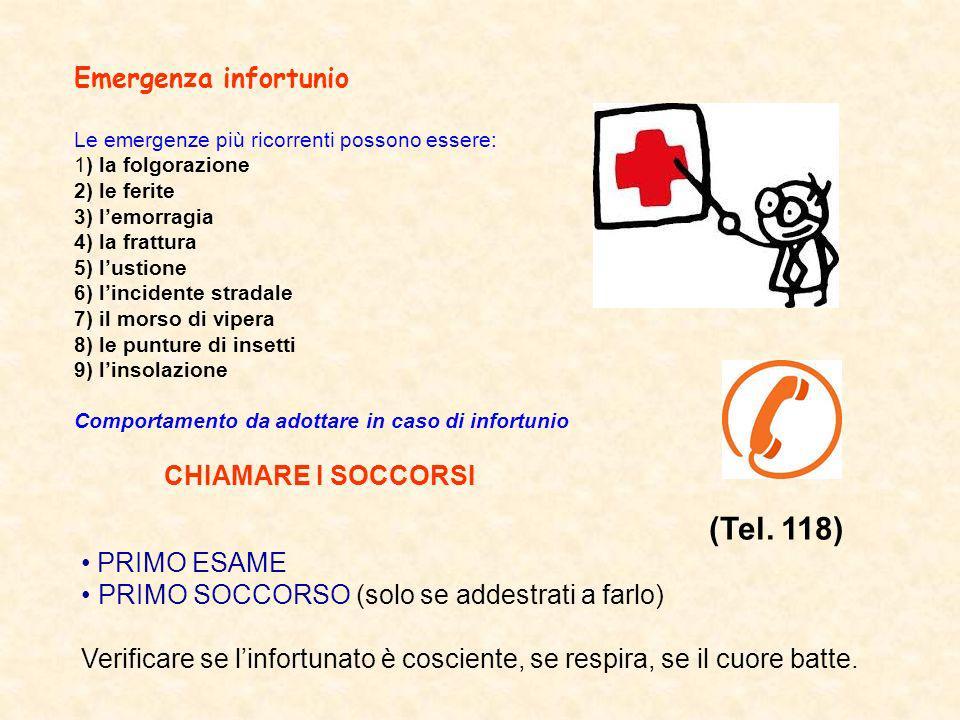 Emergenza infortunio Le emergenze più ricorrenti possono essere: 1) la folgorazione 2) le ferite 3) lemorragia 4) la frattura 5) lustione 6) lincident