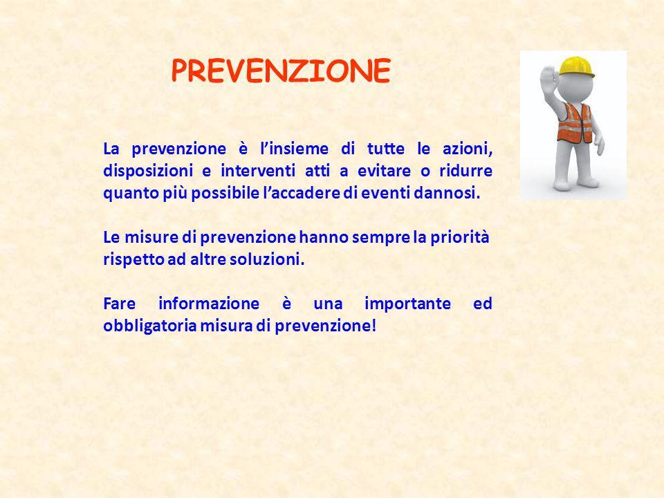 PREVENZIONE La prevenzione è linsieme di tutte le azioni, disposizioni e interventi atti a evitare o ridurre quanto più possibile laccadere di eventi