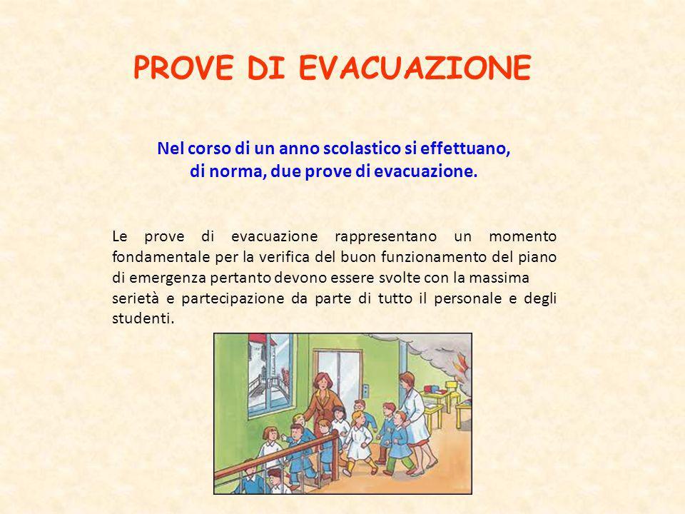 PROVE DI EVACUAZIONE Nel corso di un anno scolastico si effettuano, di norma, due prove di evacuazione. Le prove di evacuazione rappresentano un momen
