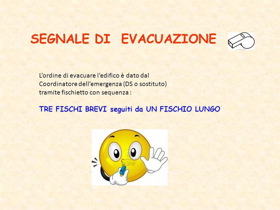 SEGNALE DI EVACUAZIONE Lordine di evacuare ledifico è dato dal Coordinatore dellemergenza (DS o sostituto) tramite fischietto con sequenza : TRE FISCH