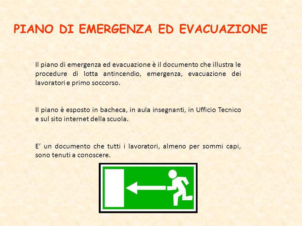 PIANO DI EMERGENZA ED EVACUAZIONE Il piano di emergenza ed evacuazione è il documento che illustra le procedure di lotta antincendio, emergenza, evacu