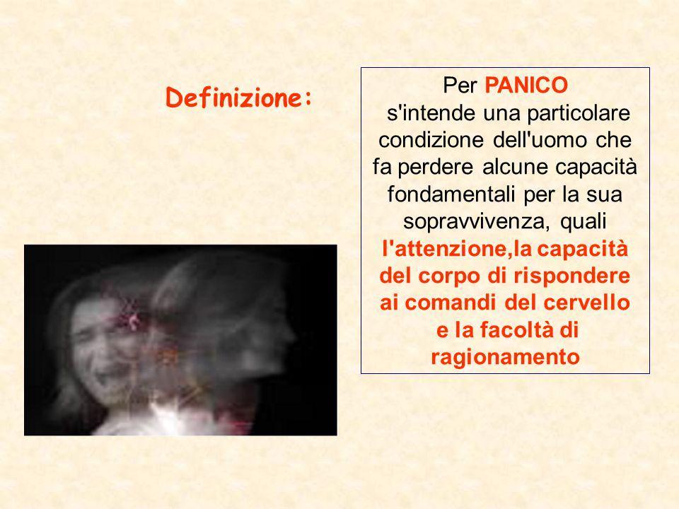 Per PANICO s'intende una particolare condizione dell'uomo che fa perdere alcune capacità fondamentali per la sua sopravvivenza, quali l'attenzione,la
