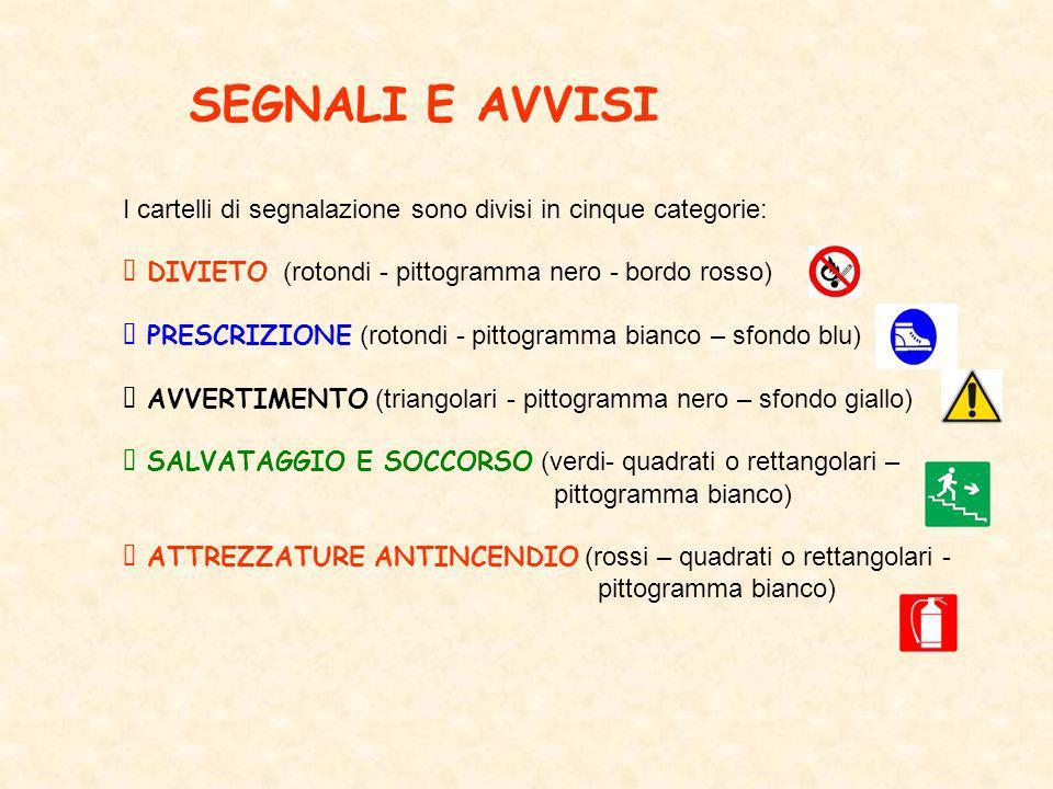 SEGNALI E AVVISI I cartelli di segnalazione sono divisi in cinque categorie: DIVIETO (rotondi - pittogramma nero - bordo rosso) PRESCRIZIONE (rotondi