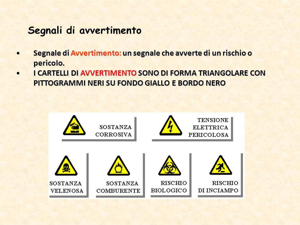 Segnale di Avvertimento: un segnale che avverte di un rischio o pericolo.Segnale di Avvertimento: un segnale che avverte di un rischio o pericolo. I C