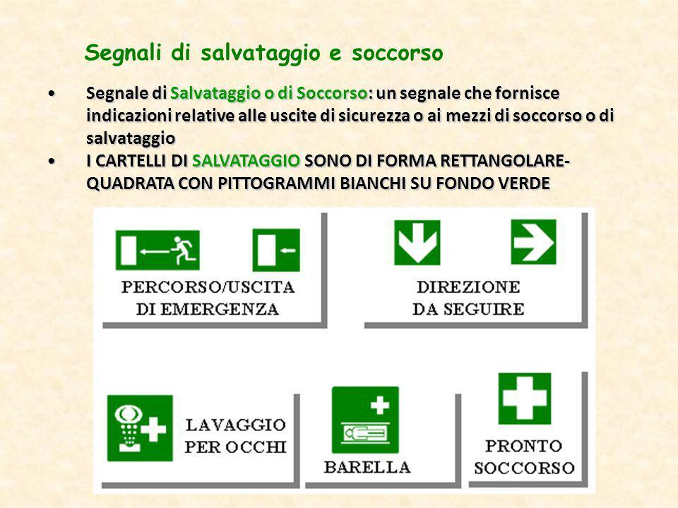 Segnale di Salvataggio o di Soccorso: un segnale che fornisce indicazioni relative alle uscite di sicurezza o ai mezzi di soccorso o di salvataggioSeg