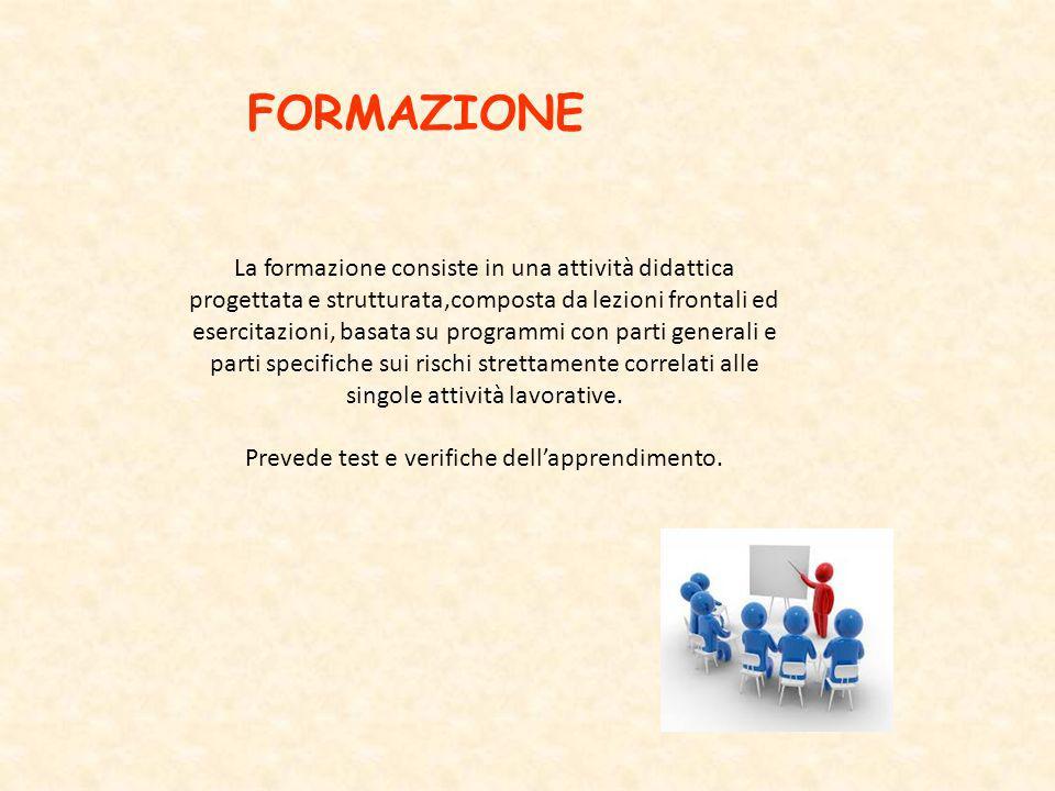 FORMAZIONE La formazione consiste in una attività didattica progettata e strutturata,composta da lezioni frontali ed esercitazioni, basata su programm