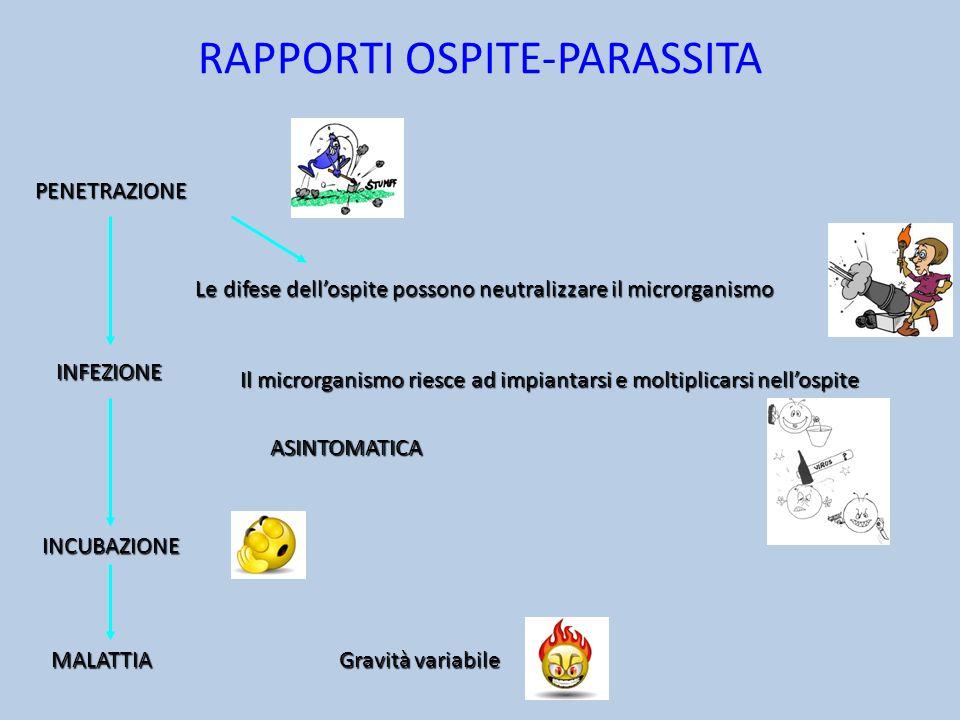 RAPPORTI OSPITE-PARASSITA Le difese dellospite possono neutralizzare il microrganismo Il microrganismo riesce ad impiantarsi e moltiplicarsi nellospit