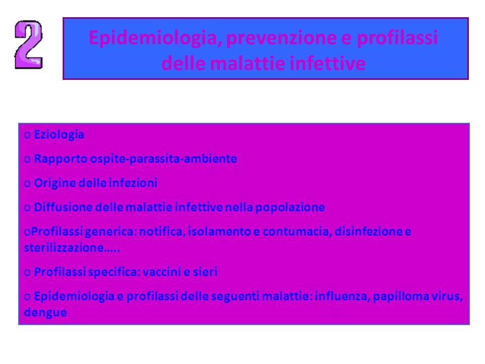 Epidemiologia, prevenzione e profilassi delle malattie infettive o Eziologia o Rapporto ospite-parassita-ambiente o Origine delle infezioni o Diffusio
