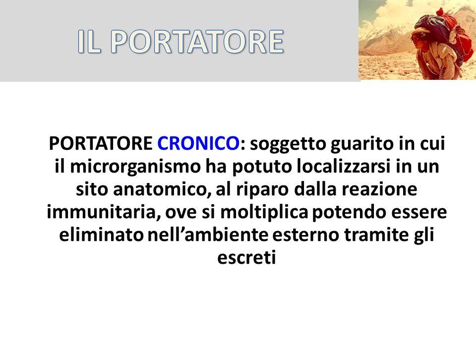 PORTATORE CRONICO: soggetto guarito in cui il microrganismo ha potuto localizzarsi in un sito anatomico, al riparo dalla reazione immunitaria, ove si