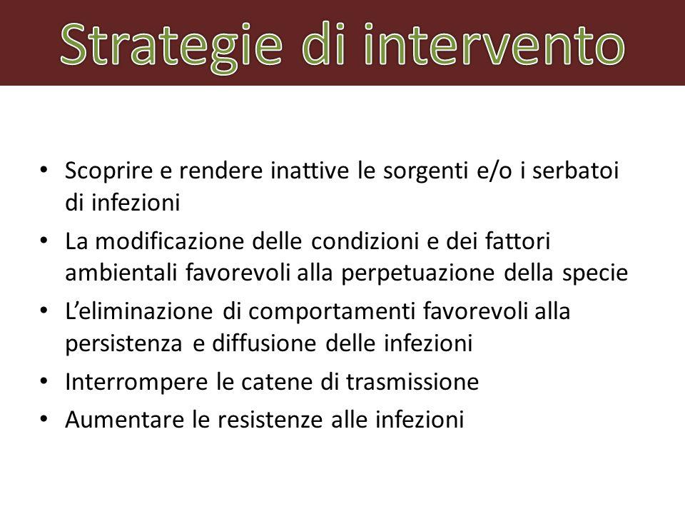 Scoprire e rendere inattive le sorgenti e/o i serbatoi di infezioni La modificazione delle condizioni e dei fattori ambientali favorevoli alla perpetu
