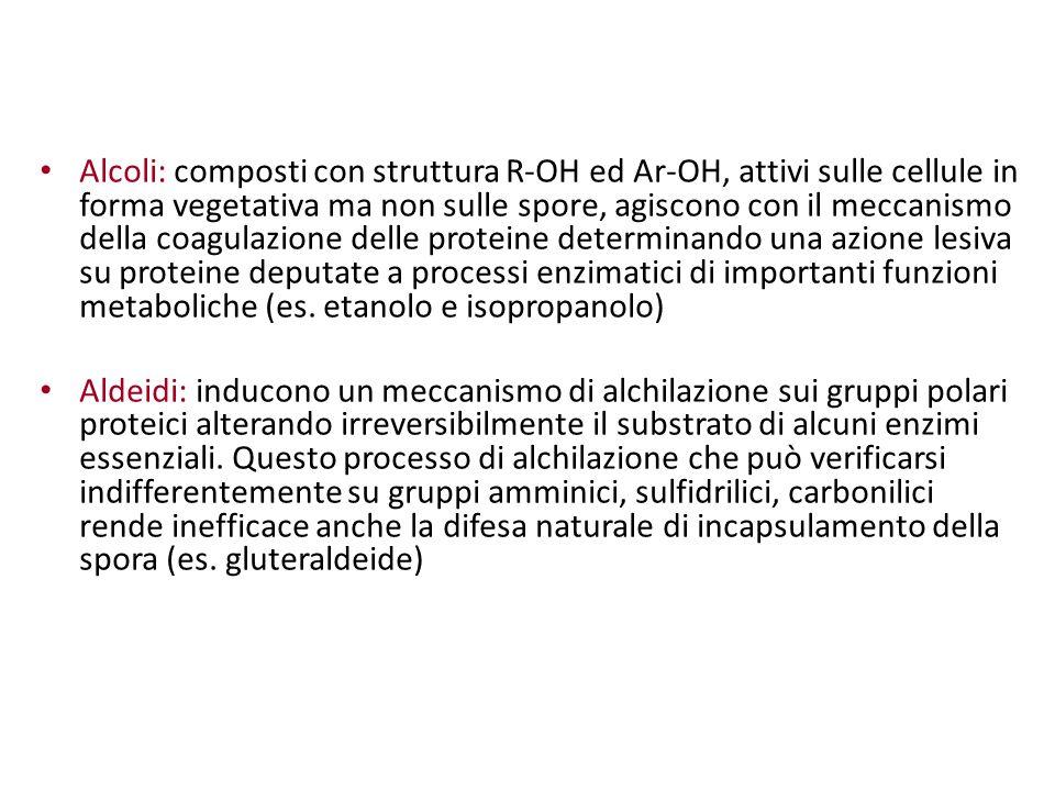 Alcoli: composti con struttura R-OH ed Ar-OH, attivi sulle cellule in forma vegetativa ma non sulle spore, agiscono con il meccanismo della coagulazio