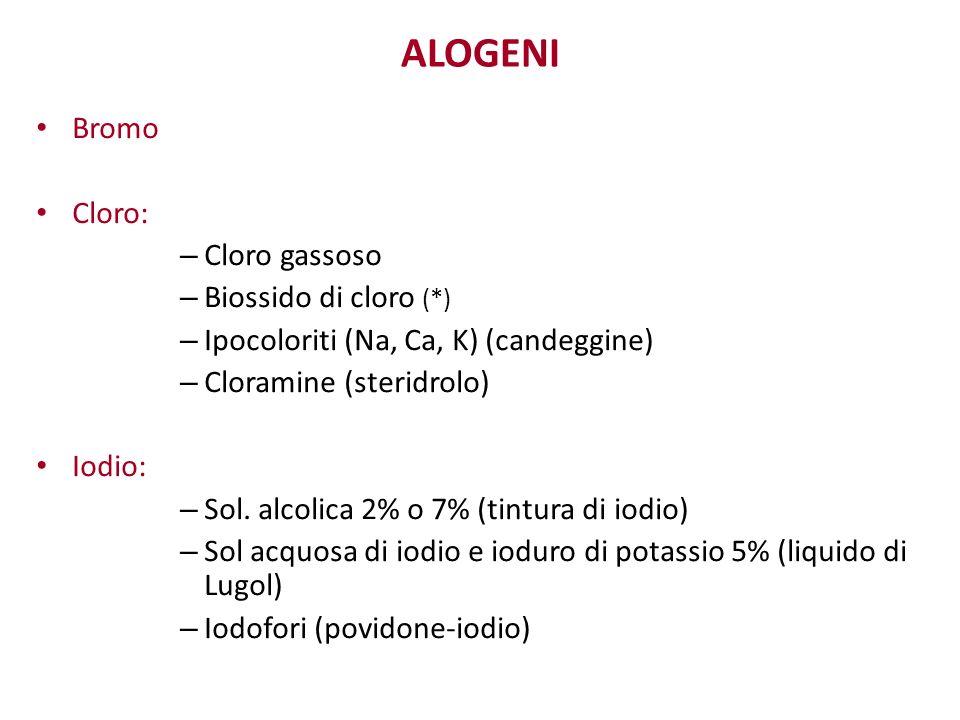 ALOGENI Bromo Cloro: – Cloro gassoso – Biossido di cloro (*) – Ipocoloriti (Na, Ca, K) (candeggine) – Cloramine (steridrolo) Iodio: – Sol. alcolica 2%