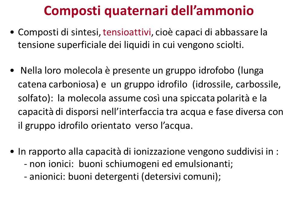 Composti di sintesi, tensioattivi, cioè capaci di abbassare la tensione superficiale dei liquidi in cui vengono sciolti. Nella loro molecola è present