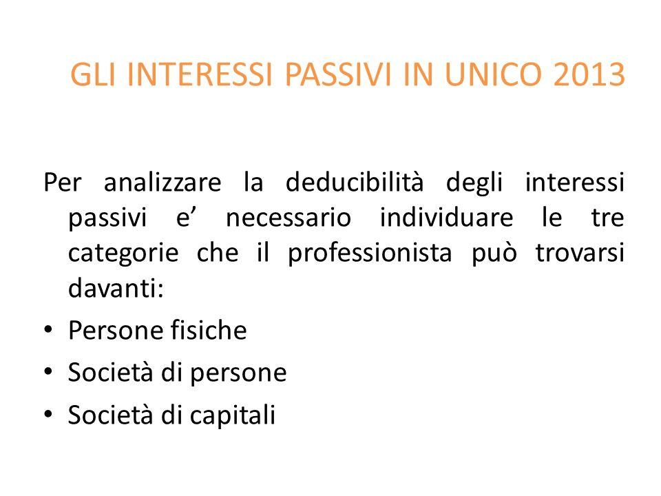 GLI INTERESSI PASSIVI IN UNICO 2013 Per analizzare la deducibilità degli interessi passivi e necessario individuare le tre categorie che il profession