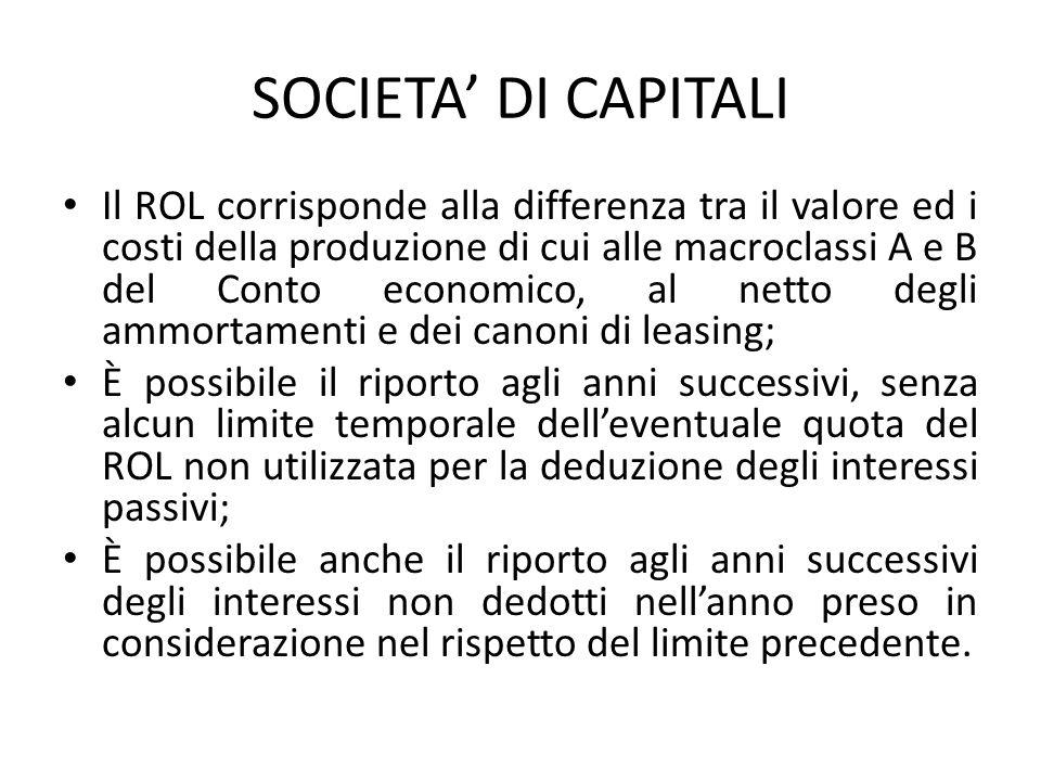 SOCIETA DI CAPITALI Il ROL corrisponde alla differenza tra il valore ed i costi della produzione di cui alle macroclassi A e B del Conto economico, al