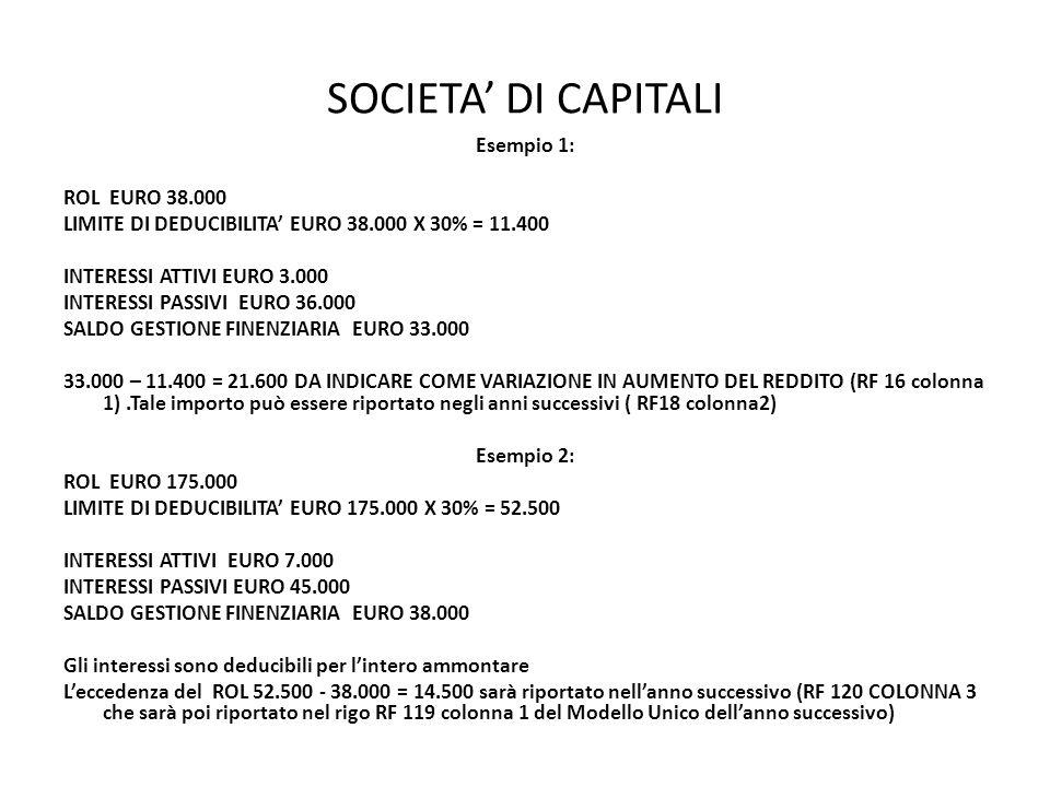SOCIETA DI CAPITALI Esempio 1: ROL EURO 38.000 LIMITE DI DEDUCIBILITA EURO 38.000 X 30% = 11.400 INTERESSI ATTIVI EURO 3.000 INTERESSI PASSIVI EURO 36