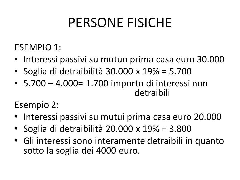PERSONE FISICHE ESEMPIO 1: Interessi passivi su mutuo prima casa euro 30.000 Soglia di detraibilità 30.000 x 19% = 5.700 5.700 – 4.000= 1.700 importo