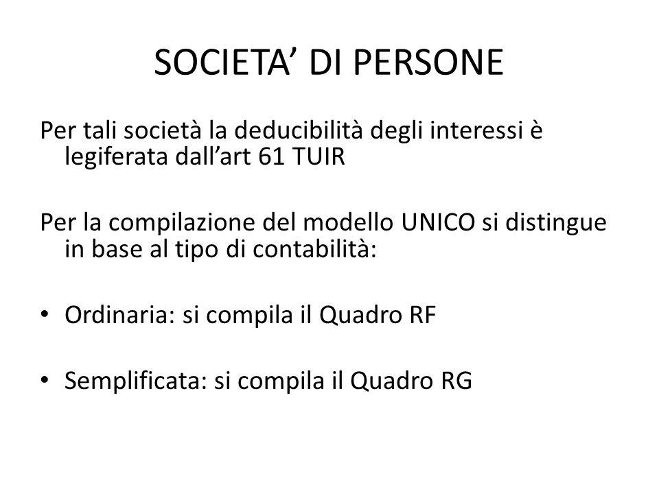 SOCIETA DI PERSONE Per tali società la deducibilità degli interessi è legiferata dallart 61 TUIR Per la compilazione del modello UNICO si distingue in