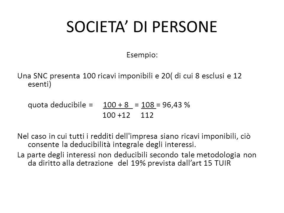 SOCIETA DI PERSONE Esempio: Una SNC presenta 100 ricavi imponibili e 20( di cui 8 esclusi e 12 esenti) quota deducibile = 100 + 8 = 108 = 96,43 % 100