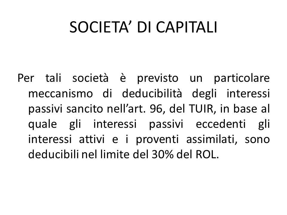 SOCIETA DI CAPITALI Per tali società è previsto un particolare meccanismo di deducibilità degli interessi passivi sancito nellart. 96, del TUIR, in ba
