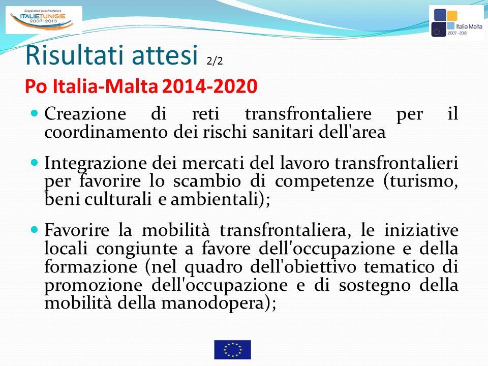 Risultati attesi 2/2 Po Italia-Malta 2014-2020 Creazione di reti transfrontaliere per il coordinamento dei rischi sanitari dell'area Integrazione dei