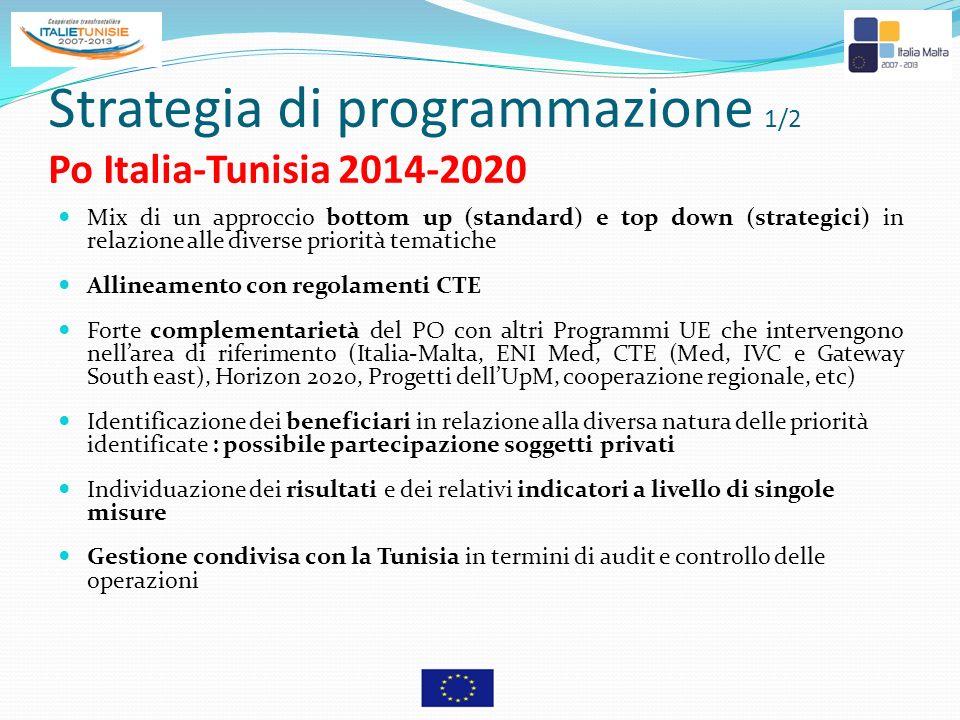 Strategia di programmazione 1/2 Po Italia-Tunisia 2014-2020 Mix di un approccio bottom up (standard) e top down (strategici) in relazione alle diverse