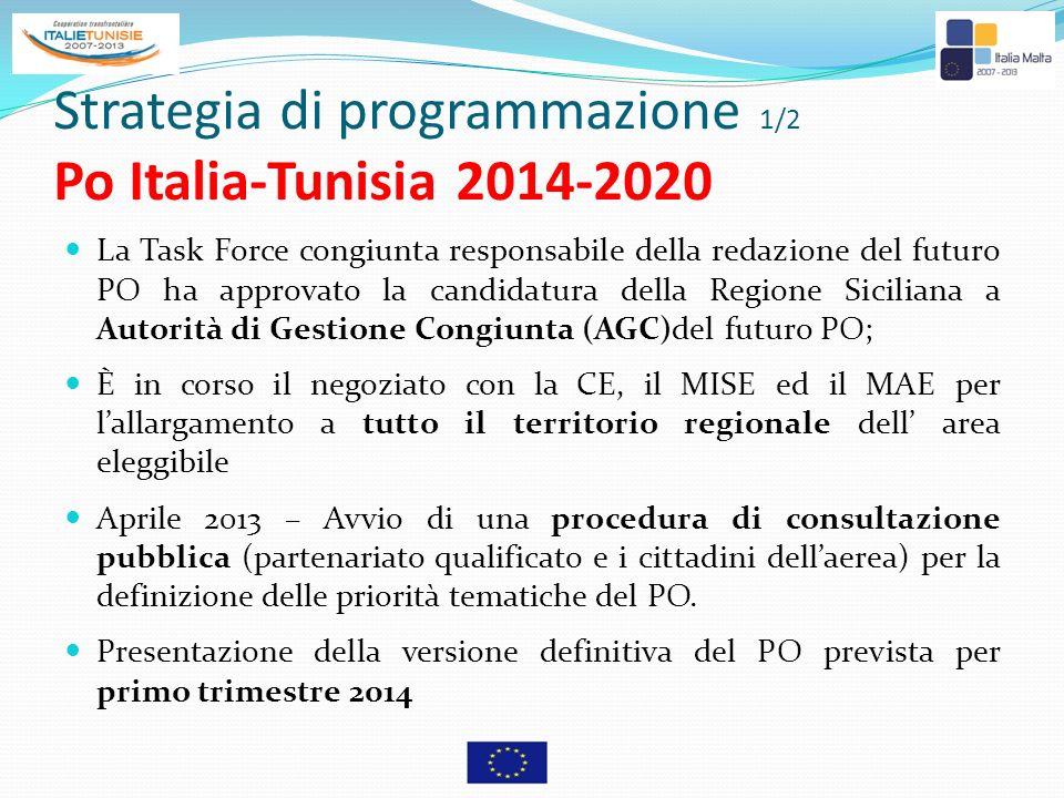 Strategia di programmazione 1/2 Po Italia-Tunisia 2014-2020 La Task Force congiunta responsabile della redazione del futuro PO ha approvato la candida