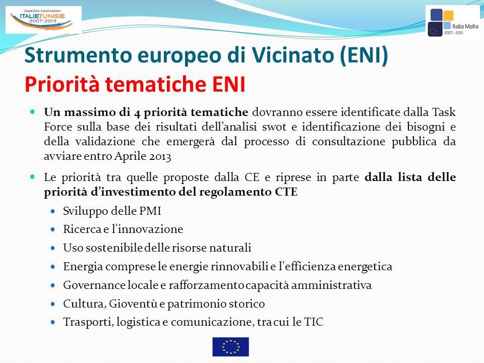Strumento europeo di Vicinato (ENI) Priorità tematiche ENI Un massimo di 4 priorità tematiche dovranno essere identificate dalla Task Force sulla base